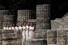 Actresses perform during the Olympic torch lighting ceremony in the ancient Olympia sanctuary where the Olympic Games were born in 776 B.C. #outdoorsgr