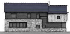 Side elevation of old house extension in the Cotswolds. Mixing stone with wooden cladding.