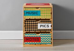 Handmade Charlotte Patterned Crate with Drawers | Made using FolkArt Handmade Charlotte stencils and FolkArt paint