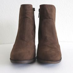 """Simple and stylish Fall ankle booties featuring a faux suede texture with a 3.5"""" cut-out back heel and a side zipper for easy on and off closure. - All man made material - Imported - True to US size"""