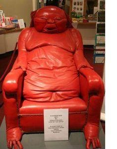 A squishy red Buddha chair...