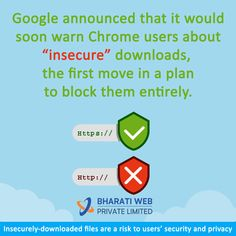 The latest news and insights from Google on security and safety on the Internet. . . . #InternertSecurity #Google #GoogleChrome #InsecuredDownloads #BharatiWeb #SecurityTips #BWPL Internet Marketing Company, Security Tips, Insight, Acting, Safety, Branding, Letters, How To Plan, News
