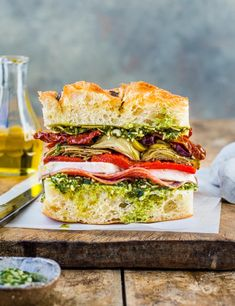 Try all of the good stuff in the deli section stuffed between springy focaccia slices. Make our quick focaccia sandwich for two people in just 20 minutes Focaccia Sandwich Recipe, Best Sandwich Recipes, Picnic Recipes, Picnic Ideas, Brunch Ideas, B Food, Deli Food, Food Porn, Artisan Rolls