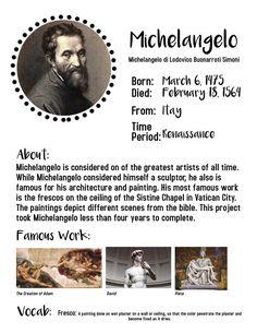 At home art lessons for kids. Michelangelo art projects for children. Art History Timeline, Art History Lessons, Art Lessons For Kids, Michelangelo, Middle School Art, Art School, Programme D'art, Art Doodle, Classe D'art