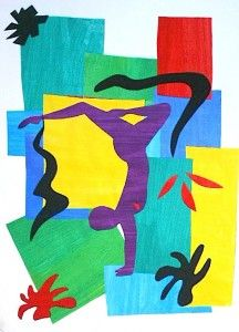 Trace, transfer, and cut out a gymnast/dancer's image from a magazine/photo.  Then make a collage.  Matisse inspired.