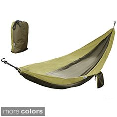 This parachute silk hammock is lightweight and comfortable enough for two people, perfect for camping or backpacking. Made of 100-percent nylon, the hammock is waterproof, breathable and UV-resistant.