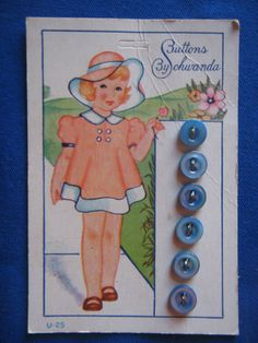 ButtonArtMuseum.com - Vintage BUTTONS By SCHWANDA Blue on CARD Little Girl SIX Ultra Kraft