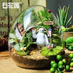 右花園苔蘚微景觀生態瓶DIY植物擺件創意玻璃瓶迷你綠植盆栽飾品-tmall.com天貓