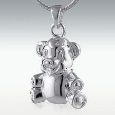 Smiley Bear Sterling Silver Cremation Jewelry  from Perfect Memorials