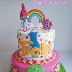 Trollkuchen - Cake from Meri Trolls cake - Cake by Meri 97 Source by jamiestotzel 4th Birthday Cakes, 6th Birthday Parties, Trolls Cake Birthday, Birthday Ideas, Bolo Trolls, Trolls Cakes, Bolo Artificial, Fete Emma, Troll Party