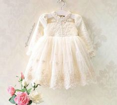 Kryssi Kouture Grace & Lace Girls Ivory Lace and Pearl Long Sleeve Tulle Dress