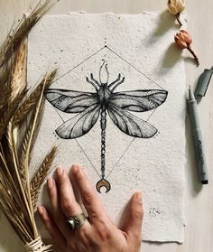 Dragonfly artwork - original dragonfly drawing on handmade paper/ dragonfly decor/ spiritual art Dragonfly Drawing, Butterfly Drawing, Dragonfly Tattoo Design, Bug Tattoo, Insect Tattoo, Dragonfly Decor, Black Paper Drawing, Tattoo Designs, Chest Tattoos For Women
