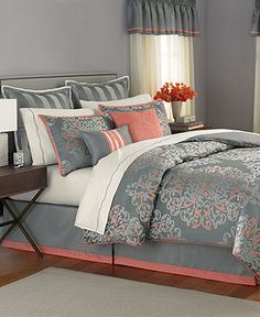 Gray and Coral master bedroom. Our bedding set-Martha Stewart Grand Damask :-)