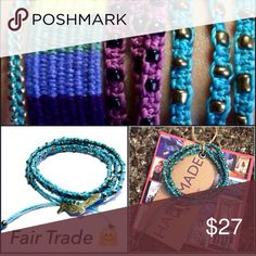"""For @sumerc - 5x Wachinik Turquoise Bracelets FAIR TRADE HANDMADE WACHINIK TRIPLE WRAP BRACELET IN TURQUOISE                   I'm very pleased to begin carrying my 1st Fair Trade item -and on International Women's Day no less                                                           made by artisans in Guatemala                          16"""" long with bird charm                                horse charm is featured in bottom right of cover photo - ☀️Summer Clearance prices are firm unless…"""