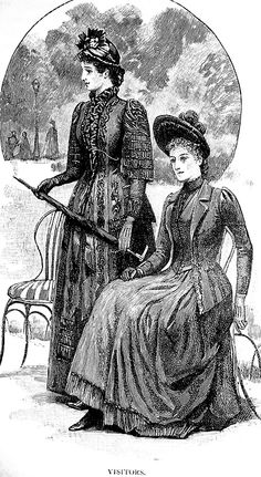 Tres Elegant: 'Visitors.' Cassell's Family Magazine, 1889.    I really like the outfit of the lady sitting down.