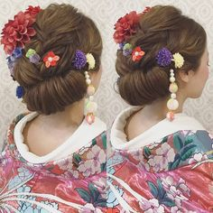 いいね!528件、コメント1件 ― R.Y.K Vanilla Emuさん(@ry01010828)のInstagramアカウント: 「結婚式の前撮り 和装ロケーション撮影のお客様 創作ヘアで 和っぽいヘアスタイルに♪ 沢山のお花や ちりめん素材の髪飾りを 沢山付けました♪ #ヘア #ヘアメイク #ヘアアレンジ #結婚式…」 Japanese Wedding, Hair Arrange, Hair Setting, Japanese Hairstyle, Kanzashi Flowers, Japanese Outfits, Bride Hairstyles, Headdress, Hair Pieces