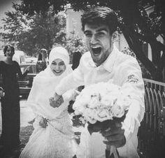 wedding, muslim, and couple resmi