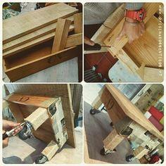 ❣ Aulas na Oficina ❣ A E. fez esta mesa giríssima a partir de uma caixa de vinho… ficou o Máximo não acham? O que gostavam de fazer?