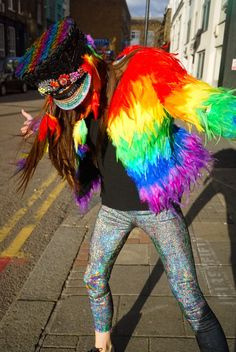 Shop Our Custom Made Feather Jacket Rainbow Feather Costume for Festival Wear, Carnavale Outfits and Music Festival Outfits, Festival Wear, Festival Fashion, Festival Style, Festival Hats, Festival Sunglasses, Sparkle Outfit, Feather Coat, Nye Outfits