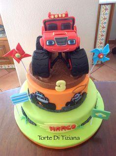 Cake Monster truck blaze Torta Blaze, Blaze And The Monster Machines Cake, Birthday Cake, Birthday Parties, Birthday Ideas, Fondant, Truck Cakes, Monster Truck Birthday, Cakes For Boys