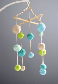 Baby Crib Mobile - Crochet Pastel Baby Boy Beige/Mint green/Aqua/Salad green Balls Mobile(5-color mobile) -Baby boy nursery    Made to order