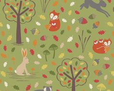 fox+and+friends+baby+fabric | ... Friends - Fox and Friends by Lewis & Irene Cotton Fabric Fat Quarter