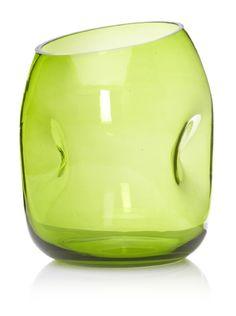 Jozefina Art Glass Splash Vase in olive