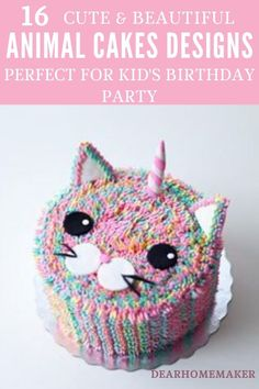 16 Beautiful and Easy to Decorate Animal Cake Designs that are Perfect for Kid's Birthday Party. #animalbirthdaycake #birthday #cake #farmanimalcake #dessert Animal Birthday Cakes, Animal Cakes, Cat Birthday, Birthday Ideas, Cake Designs For Kids, Cake Land, Zucchini Cake, Dog Cakes, Apple Smoothies