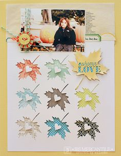 by waleska using September Mercantile Kit - cutting file freebie - gorgeous color. Love the leaf cutouts. Scrapbook Sketches, Scrapbook Page Layouts, Scrapbook Paper Crafts, Scrapbook Cards, Leaf Cutout, Scrapbook Embellishments, Layout Inspiration, Minis, Cardmaking