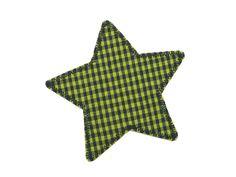 Applikation Stern grün-blau kariert Knieflicken von Silwarin auf DaWanda.com