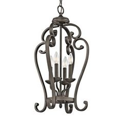 Kichler Monroe 15-In Olde Bronze Country Cottage Hardwired Single Cage Pendant