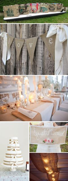 burlap wedding decorations Could do some of these quick and easy. Wedding Blog, Fall Wedding, Diy Wedding, Rustic Wedding, Wedding Reception, Destination Wedding, Wedding Ideas, Wedding Cake, Wedding Bunting