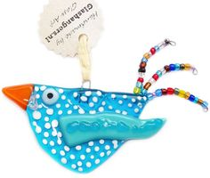 """Handgemaakte blauwe vogel van glas met prachtige """"glaskraaltjes"""" staart! Originele hanger voor huis,tuin of balkon!"""
