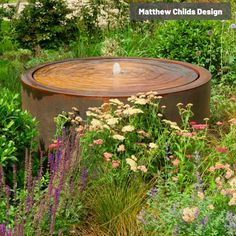 Buy Corten Steel Round Water Tablel | Water Features | The Pot Company Contemporary Water Feature, Contemporary Garden Design, Landscape Design, Water Trough, Water Tables, Garden Inspiration, Garden Ideas, Water Features In The Garden, Corten Steel