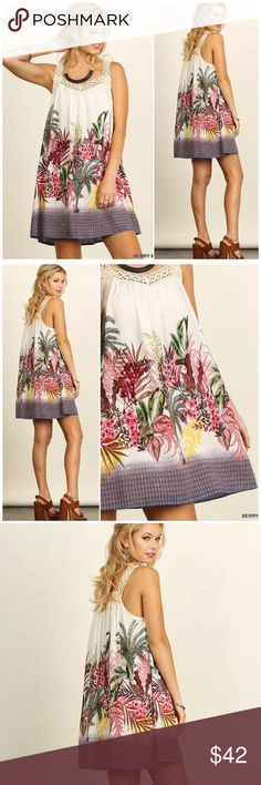 Umgee Tropical Crochet Straps Floral Boho Dress Umgee Berry Mix Tropical Crochet Straps Floral Boho Dress. Cotton poly blends. Fits true to size Umgee Dresses