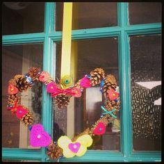 pinecone and crochet love heart wreath