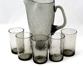 Vtg Crackle Glass Pitcher Glasses Smoke Mid Century Modern