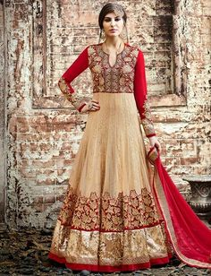 Cream Red Georgette Resham Stone Embroidery On Neck Floor Length Suit $137.61 #weddingsuit #partywearsuit #designersuit #eidcollection #anarkalisuit #fashionumang