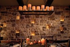 Rustic dining room with wood table, chairs, and Restoration Hardware candle chandelier Eldorado Stone, Dining Room Design, Stone Accent Walls, Candle Chandelier, Romantic Room Decoration, Beautiful Dining Rooms, Romantic Candles Bedroom, Wine Room, Stone Walls Interior