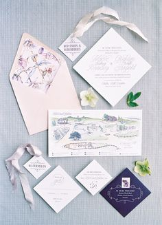 blue and pink wedding stationery
