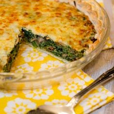 Cowboy Quiche: made with real bacon, caramelized onions, mushrooms, and spinach!
