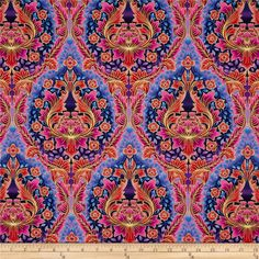 Grandeur 3 Metallics Medallion Giant Jewel from @fabricdotcom  Designed by Studio RK for Robert Kaufman, this fabric is perfect for quilting, apparel and home décor accents.  Colors include navy, purple, red, pink, peach, fuchsia, plum and gold.