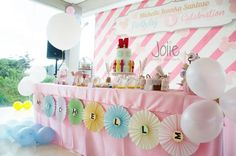 Cute Dessert Table at a Baby Mickey's Carnival party with Such Cute Ideas via Kara's Party Ideas! Full of decorating tips, favors, cakes, printables, recipes and more! #MickeyMouse BabyMickey #DessertTable