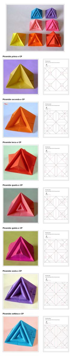 Origami: Piramide settima e varianti - Seventh pyramid and variants, by Francesco Guarnieri. CP: http://guarnieri-origami.blogspot.it/2014/02/piramide-settima-e-variazioni.html