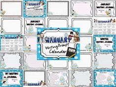 January and Winter Writing Prompt Calendar ~ {Based On Common Core Standards}~ A January writing calendar with 20 writing prompts & Word Bank ~ Four writing journal covers to choose from~ Writer's checklist for students to remind children what to focus on while writing.~ A variety of January and Winter writing paper designs, each with two different line types. I also have other monthly writing calendars available in my store.