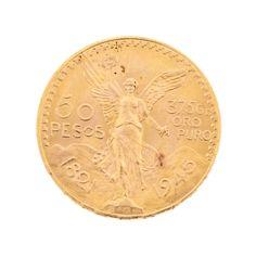 Moneda mexicana en oro