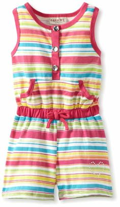 Amazon.com: Carter's Watch the Wear Girls 2-6X Striped Romper with Front Pocket: Clothing
