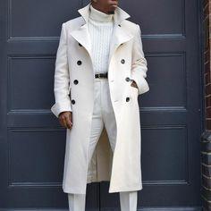 Long White Coat, White Trench Coat Mens, Men Coat, Winter Overcoat, Winter Coats, Trench Coat Outfit, Straight Jacket, Long Jackets, Men's Jackets