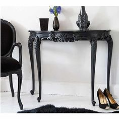 Sassy Boo Black Console Table | Console Table - Black French Bedroom Furniture