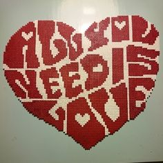 """All you need is love"" - Hama perler bead heart by annas_hus"